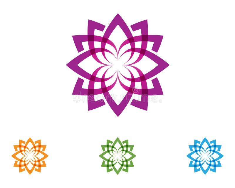 Logotipo da natureza da flor de Lotus e vetor do molde do símbolo ilustração stock