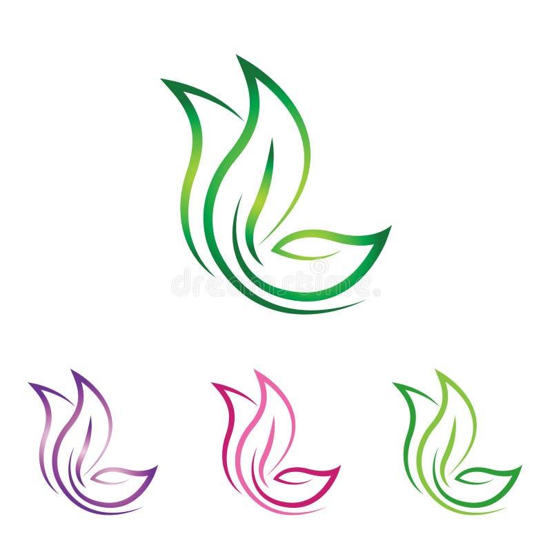 Logotipo da natureza da folha da borboleta - linha arte abstrata ilustração royalty free