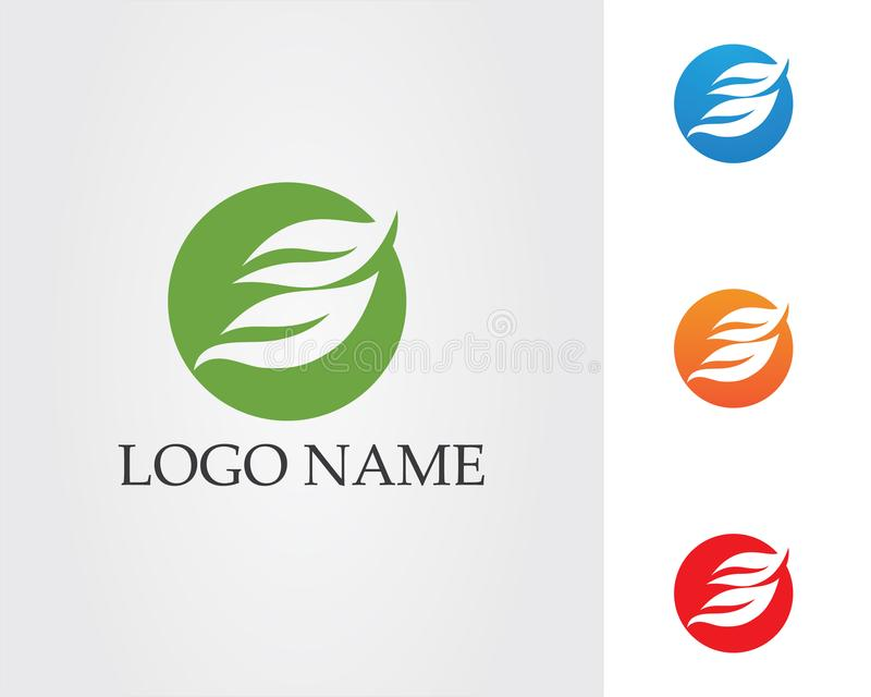 Logotipo da natureza da folha e vetor verdes do molde do símbolo ilustração do vetor