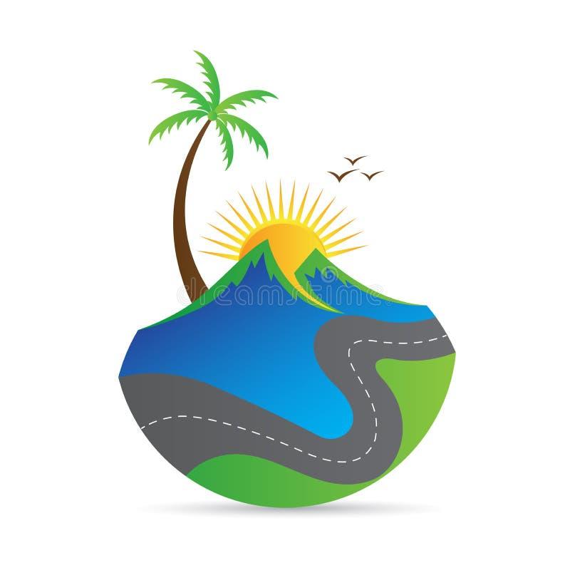Logotipo da natureza da paisagem do verde da estrada da montanha ilustração do vetor