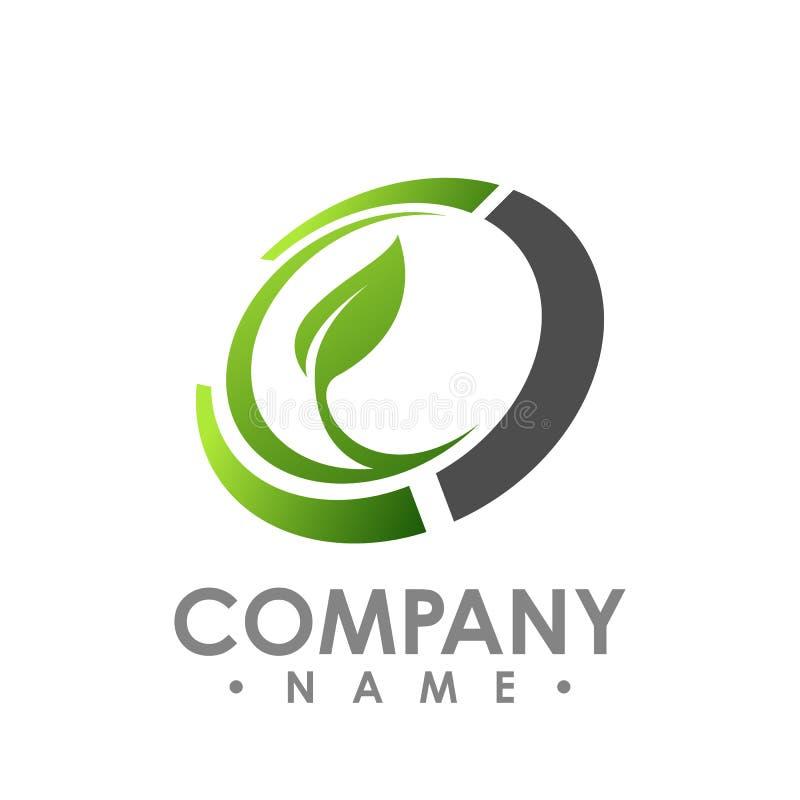 Logotipo da natureza para o conceito do ícone da empresa da saúde Logotipo co da folha do círculo ilustração stock