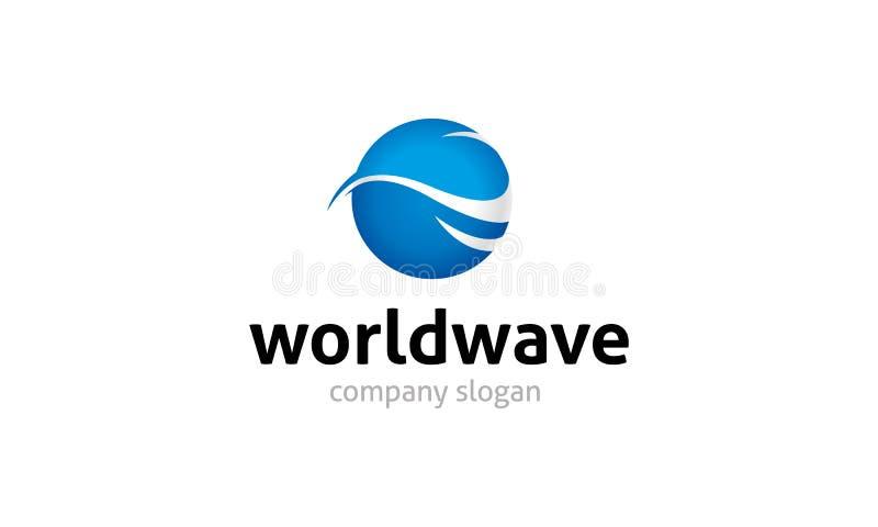 Logotipo da onda do mundo ilustração royalty free