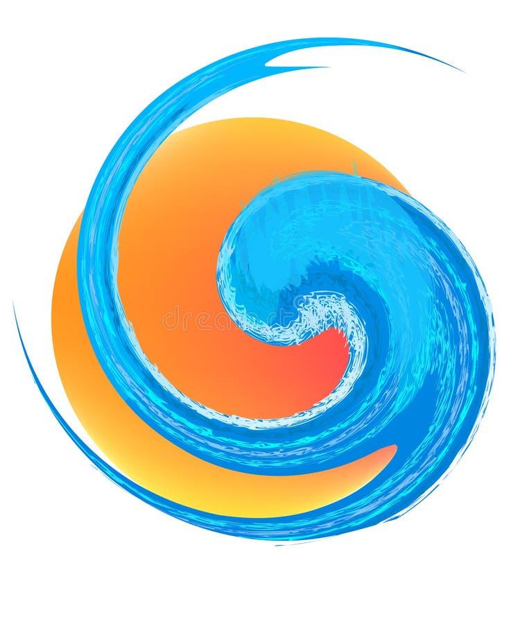 Logotipo da onda e do sol ilustração royalty free