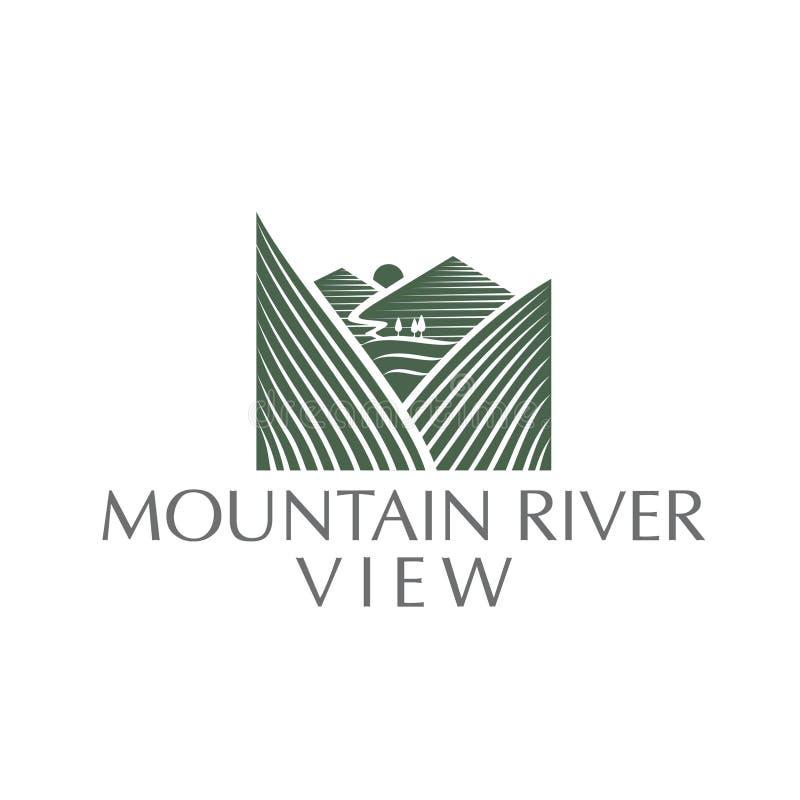 Logotipo da opinião do rio da montanha um logotipo moderno e luxuoso simples ilustração do vetor