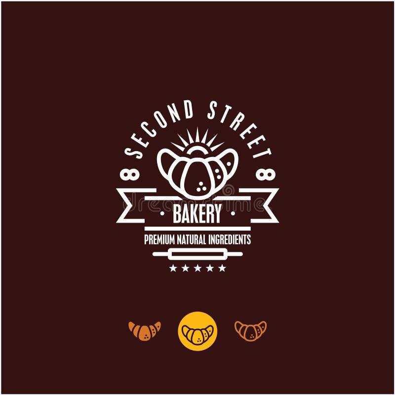 Logotipo da padaria, croissant, pastelaria ilustração royalty free