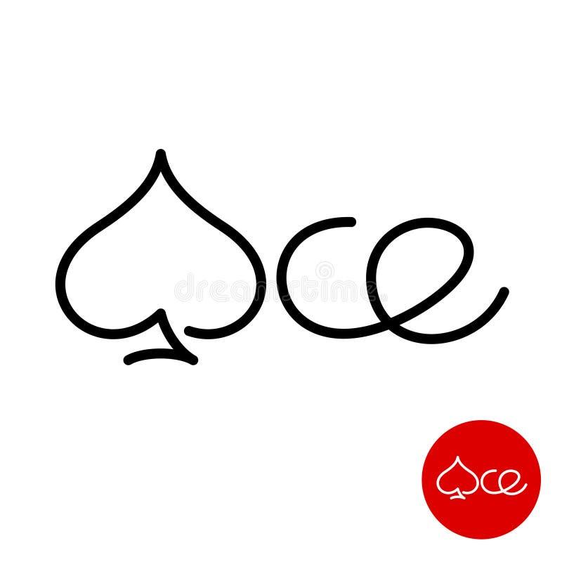 Logotipo da palavra de Ace com símbolo da pá pelo contrário uma letra ilustração do vetor