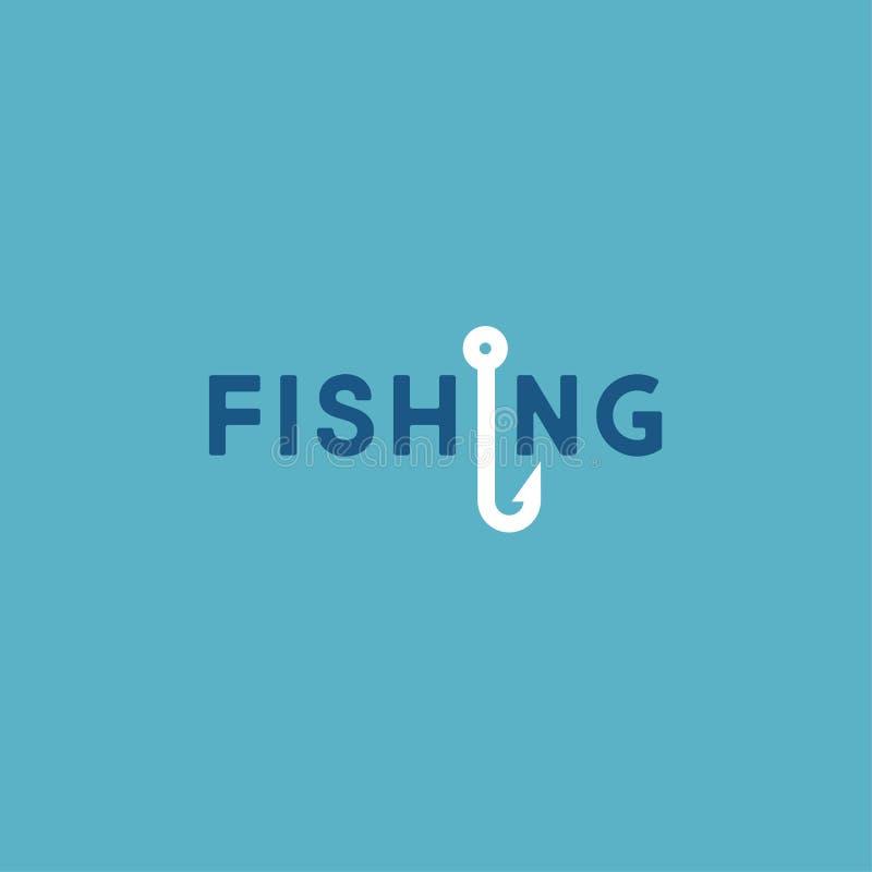 Logotipo da pesca Logotipo da flauta Letras e um gancho de pesca ilustração royalty free