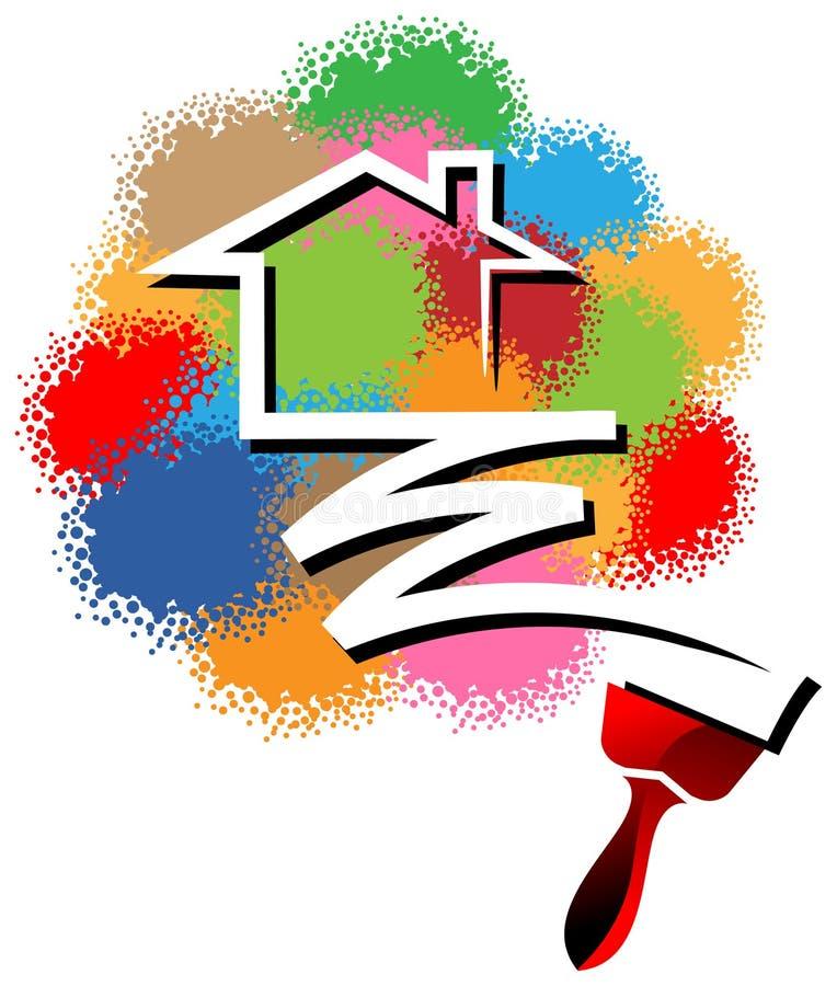 logotipo da pintura de casa ilustração stock