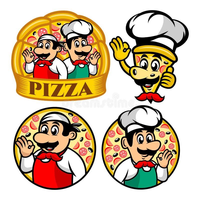Logotipo da pizza e do cozinheiro chefe do personagem de banda desenhada ilustração stock