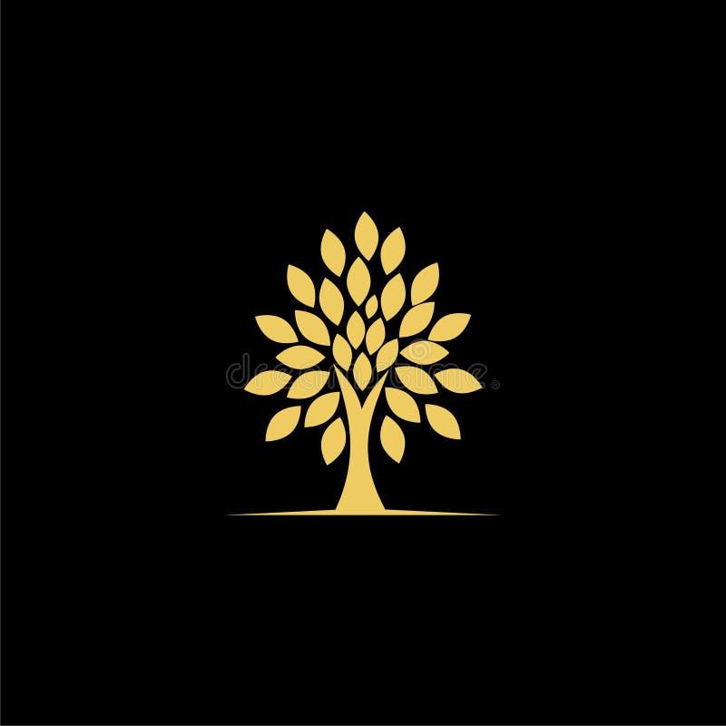 Logotipo da planta da árvore do ouro, ícone da árvore do ouro no fundo escuro ilustração do vetor