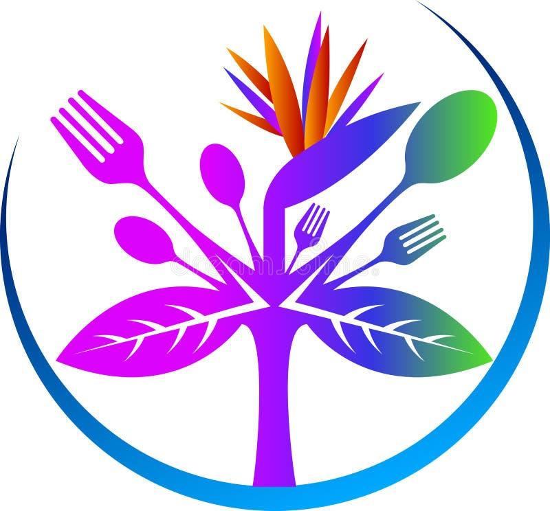 Logotipo da planta da forquilha & da colher ilustração do vetor