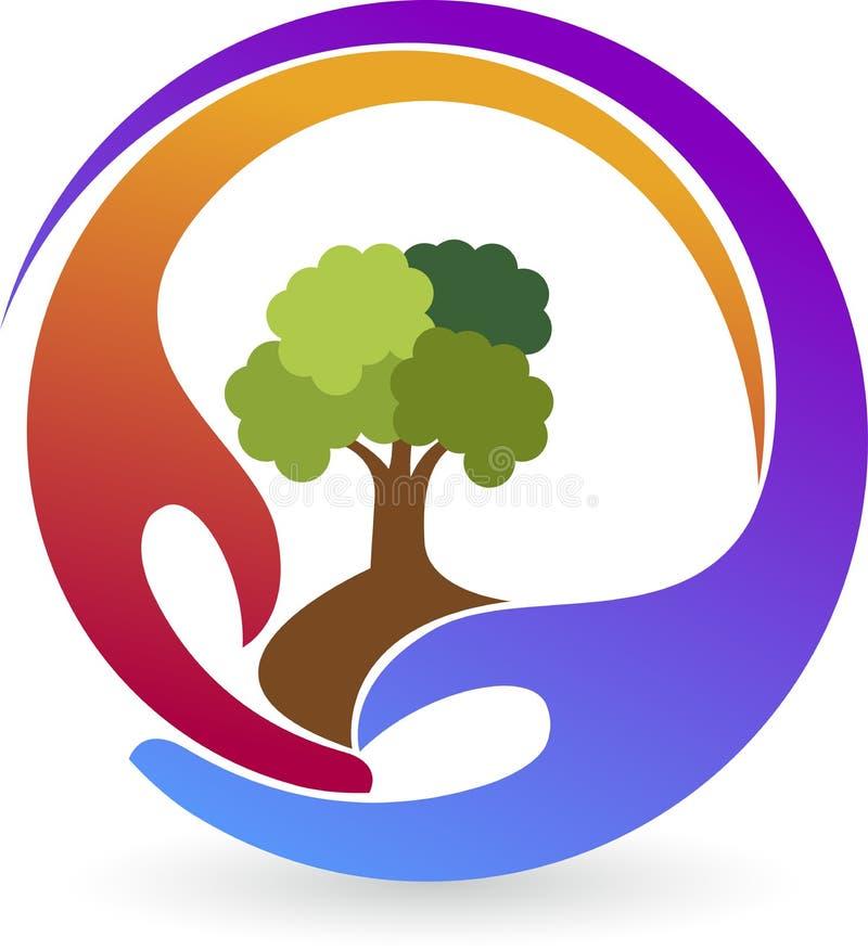 Logotipo da planta das mãos ilustração stock
