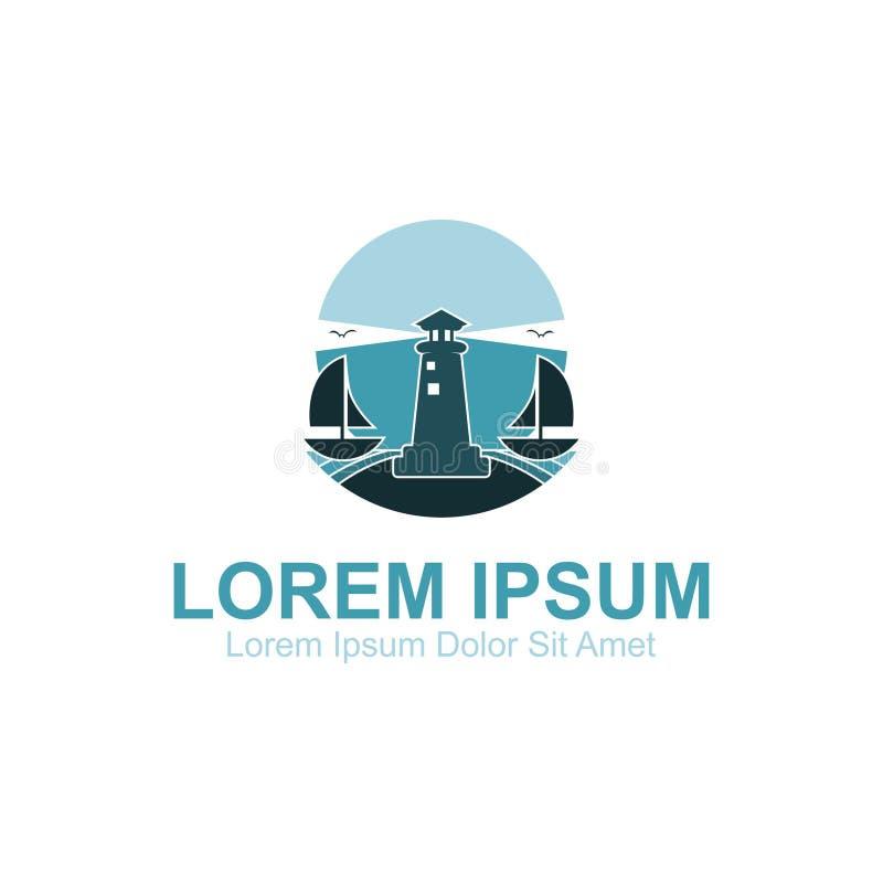 Logotipo da praia da noite do farol ilustração stock