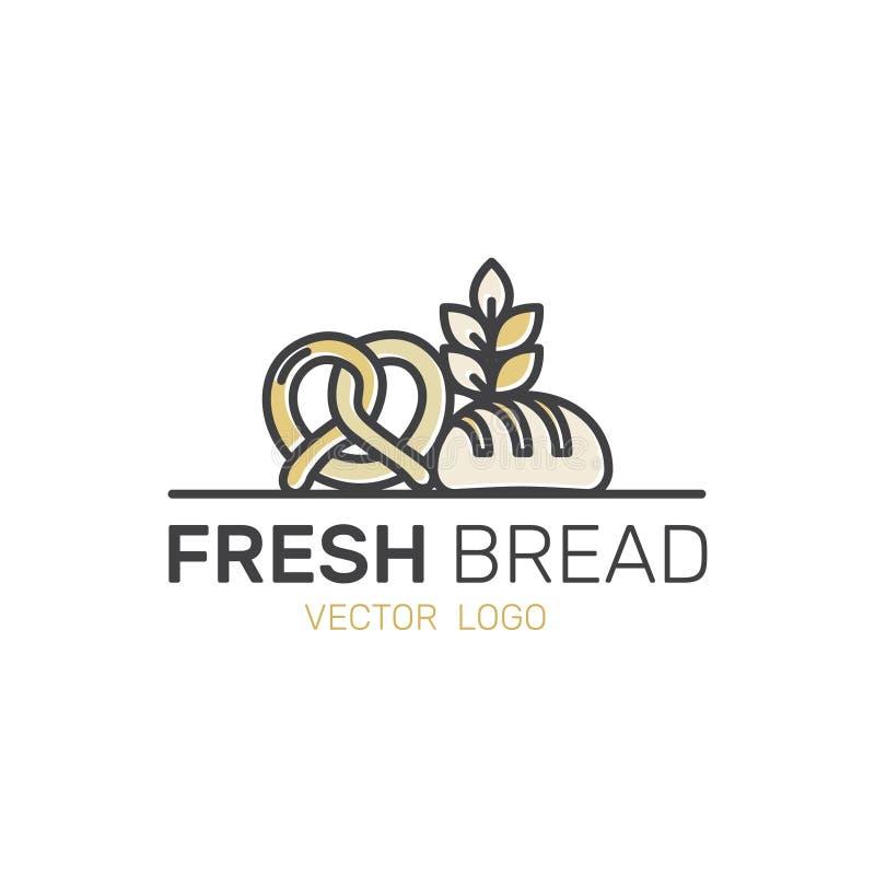 Logotipo da produção doce da loja da padaria, de bolos feitos sob encomenda, de fábrica do pão, de pretzel e de trigo ilustração stock