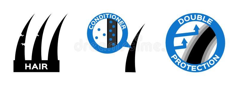 Logotipo da proteção do condicionador de cabelo, ícone e anatomy ilustração royalty free
