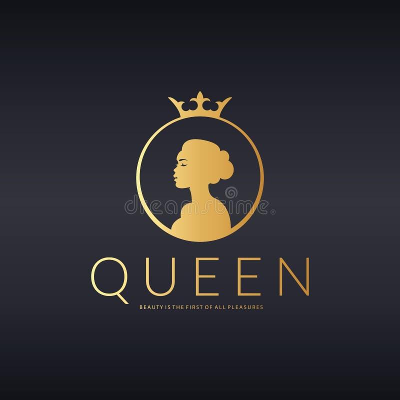Logotipo da rainha O castelo de Kalmar em Sweden Projeto do logotipo do vetor para o salão de beleza, cabeleireiro, cosmético ilustração do vetor