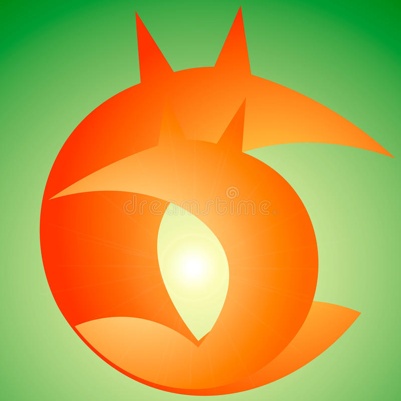 logotipo da raposa, laranja, verde fotos de stock