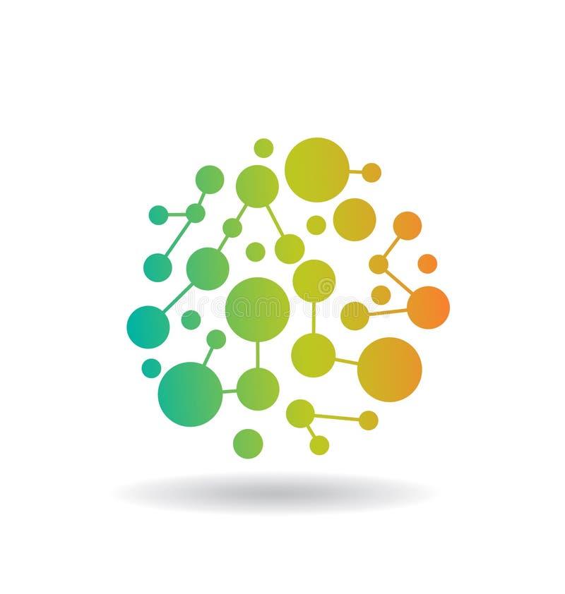 Logotipo da rede dos círculos de cor ilustração do vetor
