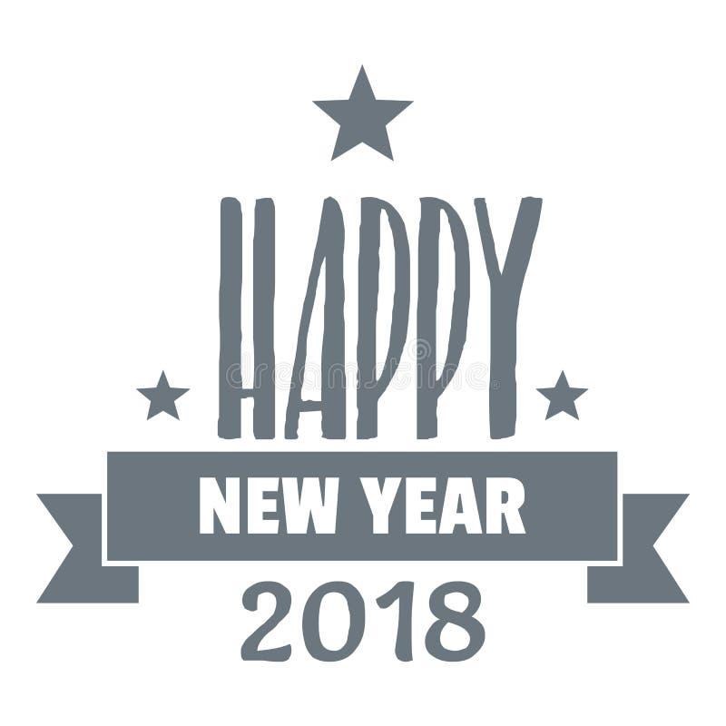 Logotipo da rotulação do ano novo feliz, estilo cinzento simples ilustração do vetor