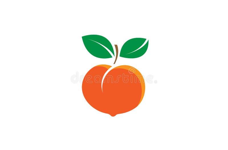 Logotipo da semente do fruto do pêssego ilustração royalty free