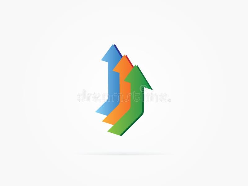 Logotipo da seta da ilustração três do vetor imagens de stock