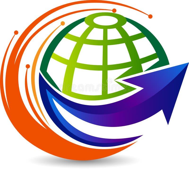 Logotipo da seta do globo ilustração stock