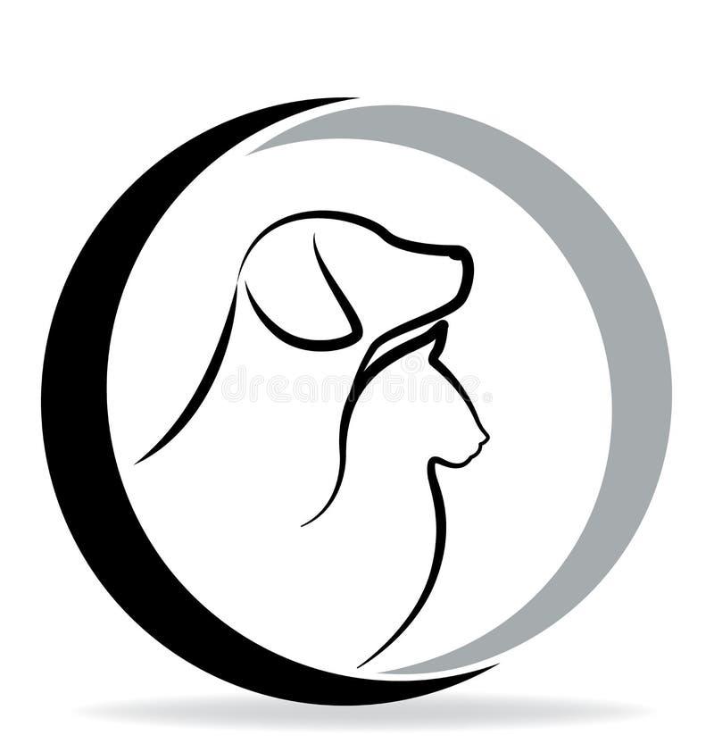 Logotipo da silhueta do cão e gato ilustração stock