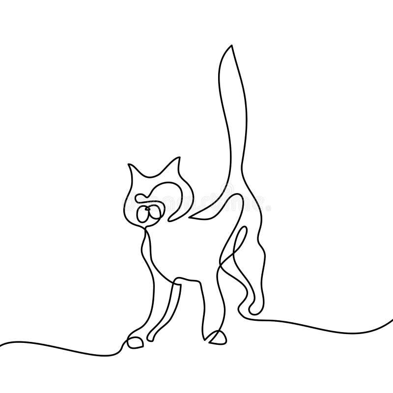 Logotipo da silhueta do gato A lápis desenho contínuo ilustração stock