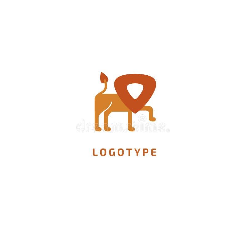Logotipo da silhueta do leão Ilustração minimalistic leo do sumário do vetor Ícone do orgulho Safari, savana, jardim zoológico, l ilustração do vetor
