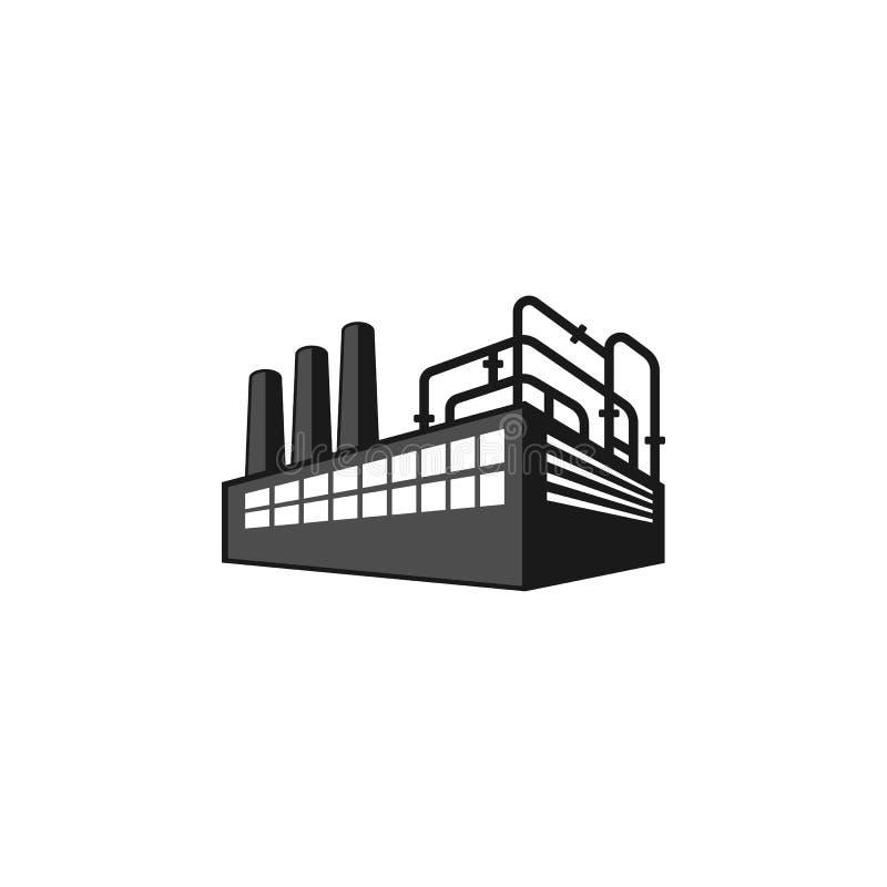 Logotipo da silhueta da fábrica da perspectiva ilustração royalty free