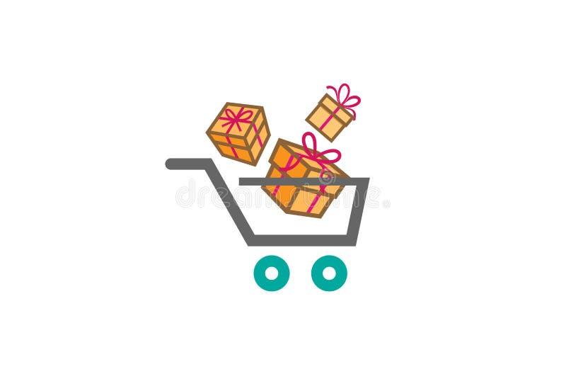 Logotipo da surpresa dos blocos do carrinho de compras e do presente ilustração do vetor