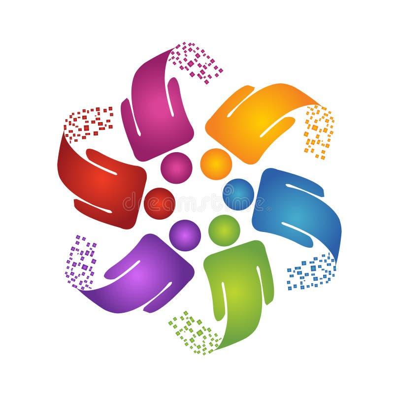 Logotipo da sustentação dos trabalhos de equipa ilustração royalty free