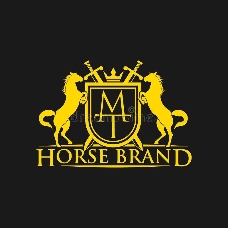 Logotipo da TA da letra inicial Vetor do projeto do logotipo do tipo do cavalo Crista dourada retro com protetor e cavalos Molde  ilustração stock