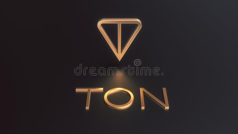 Logotipo da TONELADA Ilustração dourada do ícone 3d do cryptocurrency do telegrama ilustração do vetor