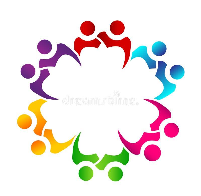 Logotipo da união dos povos dos trabalhos de equipe ilustração do vetor