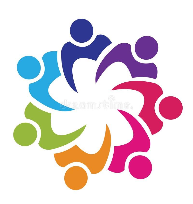Logotipo da união dos trabalhos de equipa ilustração royalty free