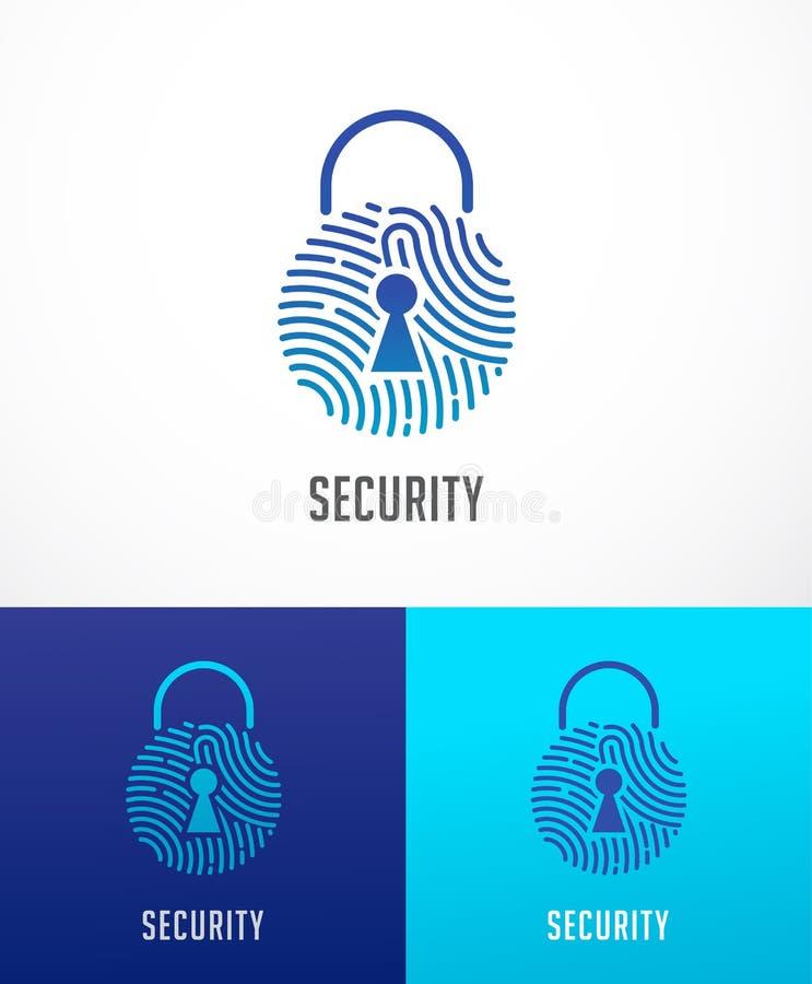 Logotipo da varredura da impressão digital, privacidade, ícone do fechamento, segurança do cyber, informação da identidade e prot ilustração stock