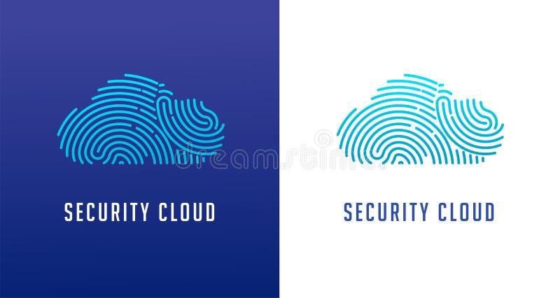 Logotipo da varredura da impressão digital, privacidade, segurança do cyber, ícone da nuvem, informação da identidade e proteção  ilustração do vetor