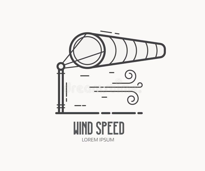 Logotipo da velocidade do vento com Windsock ilustração do vetor