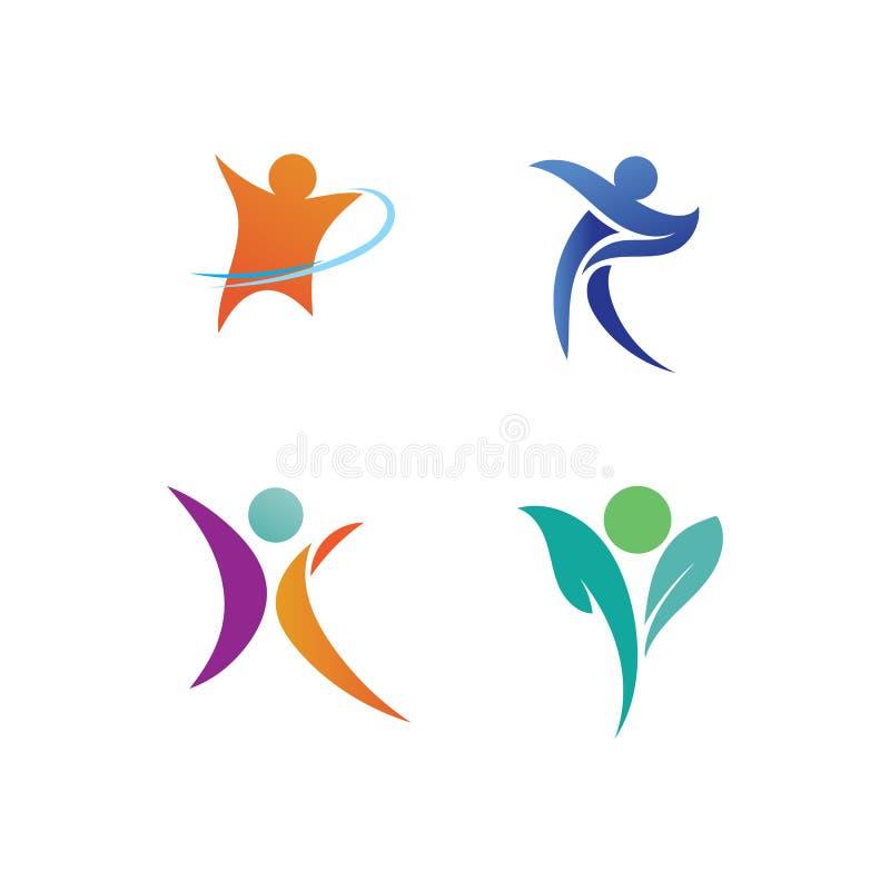 Logotipo da vida da sa?de do sucesso do cuidado dos povos ilustração stock