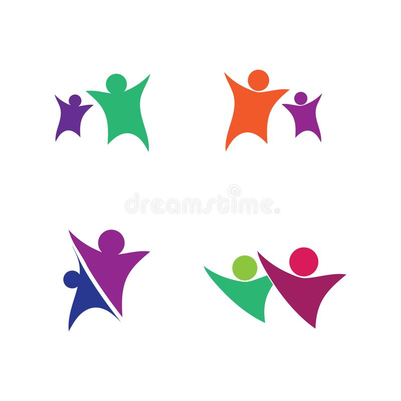 Logotipo da vida da sa?de do sucesso do cuidado dos povos ilustração do vetor