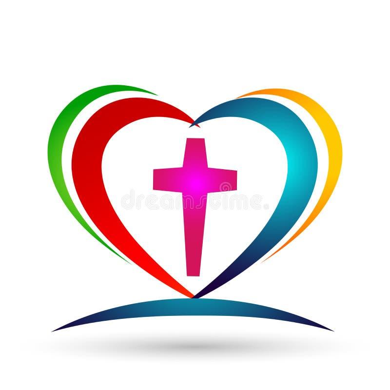 Logotipo dado forma cora??o da uni?o do amor da igreja da fam?lia ilustração stock