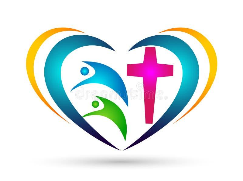 Logotipo dado forma cora??o da uni?o do amor da igreja da fam?lia ilustração do vetor
