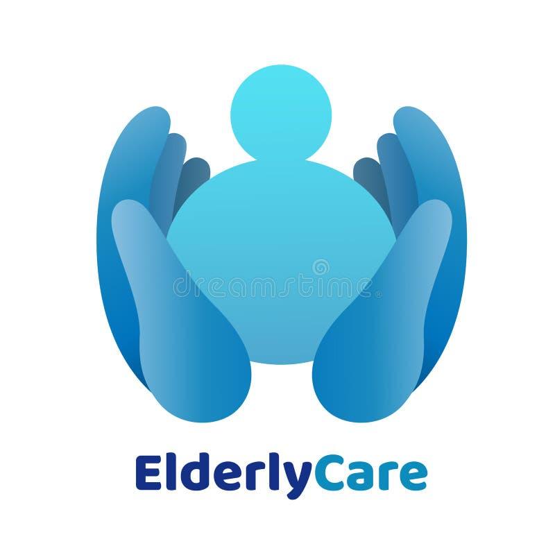 Logotipo dado forma dos cuidados médicos coração idoso Sinal do lar de idosos ilustração royalty free
