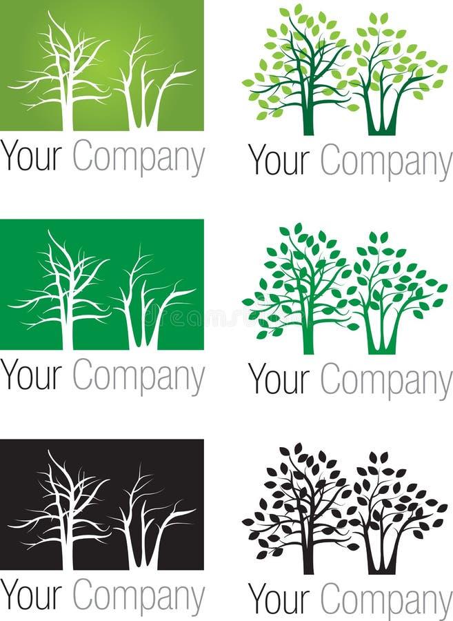 Logotipo das árvores de floresta ilustração royalty free