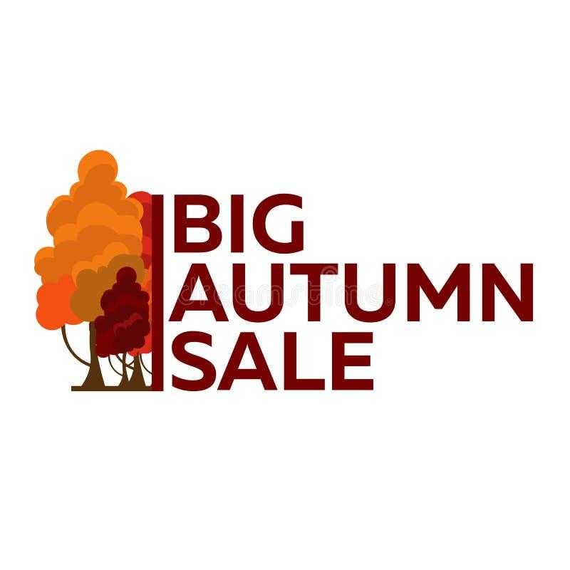 Logotipo das árvores do outono do vetor Venda grande do outono ilustração do vetor