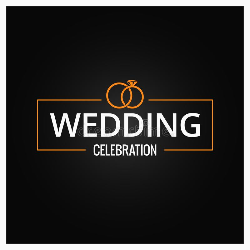 Logotipo das alianças de casamento no fundo preto