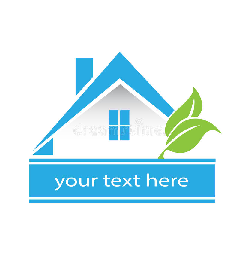 Logotipo das casas e das folhas dos bens imobiliários ilustração royalty free