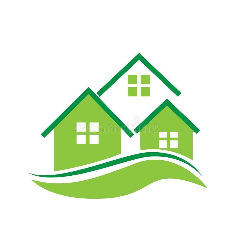 Logotipo das casas verdes ilustração do vetor