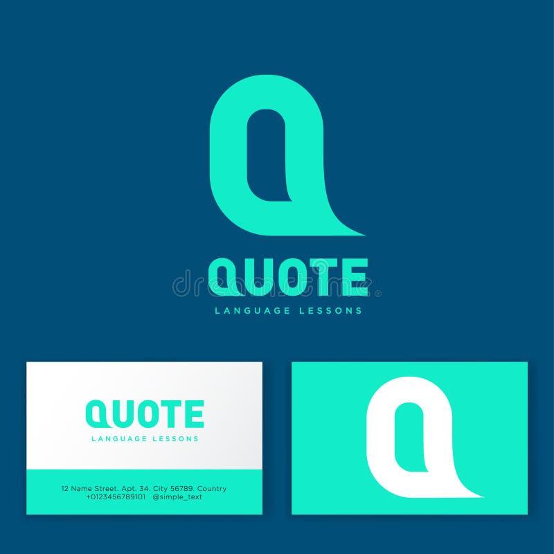 Logotipo das citações Emblema da escola de língua Letra Q como uma bolha fotografia de stock royalty free